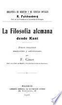 La filosofía alemana desde Kant