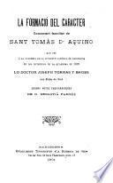 La formació del caracter, comentari familiar de Sant Tomás d'Aquino