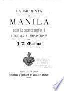 La imprenta en Manila desde sus origenes hasta 1810. Adiciones y ampliaciones