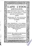 Lapls Lydos Appollinis methodo segura-assi para conocer como para curar las enfermedades agudas (etc.)