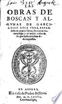 Las obras de Boscan y algunas de Garzilasso de la Vega