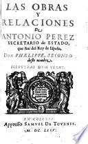 Las obras y relaciones de Antonio Pérez