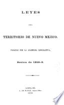 Laws of the Territory of New Mexico Passed by the Legislative Assembly, Session of 1858-9