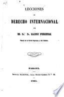 Lecciones de derecho internacional