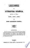 Lecciones de literatura Espanola explicadas