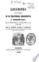 Lecciones sobre los fundamentos de la terapéutica substitutiva ú homeopática