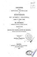 Lecciones sobre los métodos generales de síntesis en química orgánica, explicadas en el Colegio de Francia