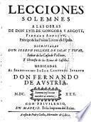 Lecciones solemnes a las obras de Luis de Gongora y Argote