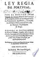 Ley Regia de Portugal. (Primera parte.) Few MS. notes