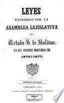 Leyes expedidas por la Asamblea Lejislativa del Estado s. de Bolívar