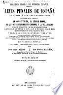 Leyes penales de España conforme á los textos oficiales
