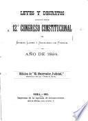 Leyes y decretos expedidos por el 12o. congreso constitucional del estado libre y soberano de Puebla, año de 1894