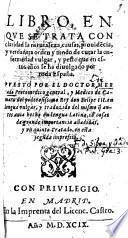 Libro en que se trata ... de curar la ... peste
