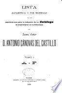 Lista alfabética y por materias de las papeletas que para la redacción de un catálog se encontraron en la biblioteca del Exemo. Señor D. Antonio Cánovas del Castillo ...: A-F