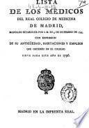 Lista de los médicos del Real Colegio de Medicina de Madrid mandado establecer por S. M. en el 3 de diciembre de 1795