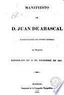Manifiesto de D. Juan de Abascal, administrador del correo general de Madrid