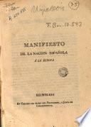 Manifiesto de la nacion española á la Europa