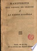 Manifiesto del Obispo de Orense a la Nación Española
