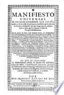 Manifiesto universal de los males ... que España