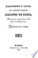 Manifiesto y Causa del Teniente Jeneral Marqués de Rodil