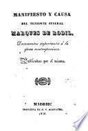 Manifiesto y causa del Teniente Jeneral Marques de Rodil