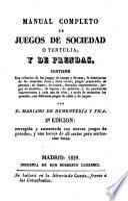 Manual completo de juegos de sociedad o tertulia