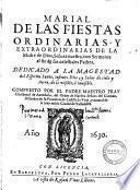 Marial de las fiestas ordinarias y extraordinarias de la Madre de Dios, ... compuesto por el padre maestro Christoual de Avendaño, del Orden de Nuestra Señora del Carmen, ..