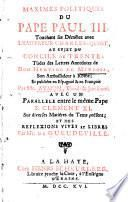 Maximes politiques du pape Paul III.