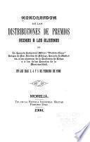 Memorandum de las distribuciones de premios hechas a los alumnos de La Escuela Industrial Militar