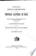 Memoria acera de la condición actual de la propiedad salitrera en Chile y exposición relativa al mejor aprovechamiento de los salitrales del Estado presentada al señor Ministro de Hacienda por el Delegado Fiscal de Salitneras