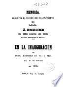 Memoria acerca del estado del Instituto de Segunda Enseñanza de Lorca durante el curso de...