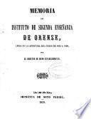 Memoria acerca del estado del Instituto de Segunda Enseñanza de Orense