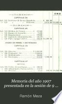 Memoria del año 1907 presentada en la sesión de 9 de enero de 1908, conmemorando el 115. aniversario de la fundación de la Sociedad [Económica de Amigos del País de la Habana]