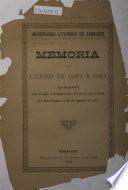 Memoria del curso del 1883 ...