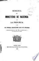Memoria del Ministerio de Hacienda de la Provincia