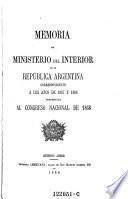 Memoria del ministerio del interior de la republica Argentina