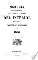 Memoria del Ministerio del Interior presentada al Congresso Nacional