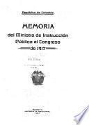 Memoria del Ministro de Instrucción Pública al Congreso