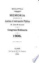 Memoria del Ministro de Justicia é Instrucción Pública