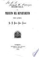 Memoria del prefecto del departamento de Lima, sr. D. Pedro José Zavala