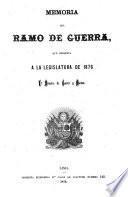Memoria del ramo de guerra presentada al legislatura ...