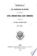 Memoria del secretario de estado en el despacho de justicia, instrucción pública, culto y beneficencia presentada al congreso constituyente de 1867