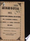 Memoria del secretario jeneral de estado, Dr. Casimiro Corral