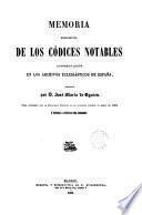Memoria descriptiva de los códices notables conservados en los Archivos eclesiásticos de España