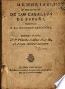 Memoria en que se trata de los caballos de España