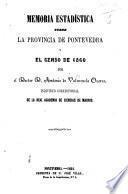 Memoria estadistica sobre la provincia de Pontevedra y el censo de 1860