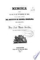 Memoria leida... en la solemne apertura del Instituto de 2a. Enseñanza de Albacete