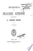 Memoria - Ministerio de Relaciones Exteriores y Culto