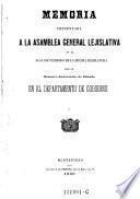 Memoria presentada a la asamblea general lejislativa en el segundo periodo de la decima lejislatura por el ministro secretario de Estado en el departemento de gobierno