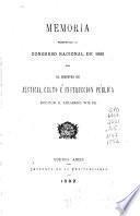 Memoria presentada al Congreso Nacional de ... por el Ministro de Justicia, Culto e Instrucción Pública
